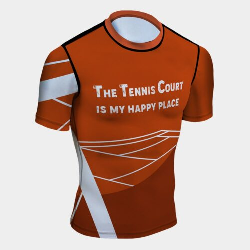 tennis court  my happy place rash guard uv protection